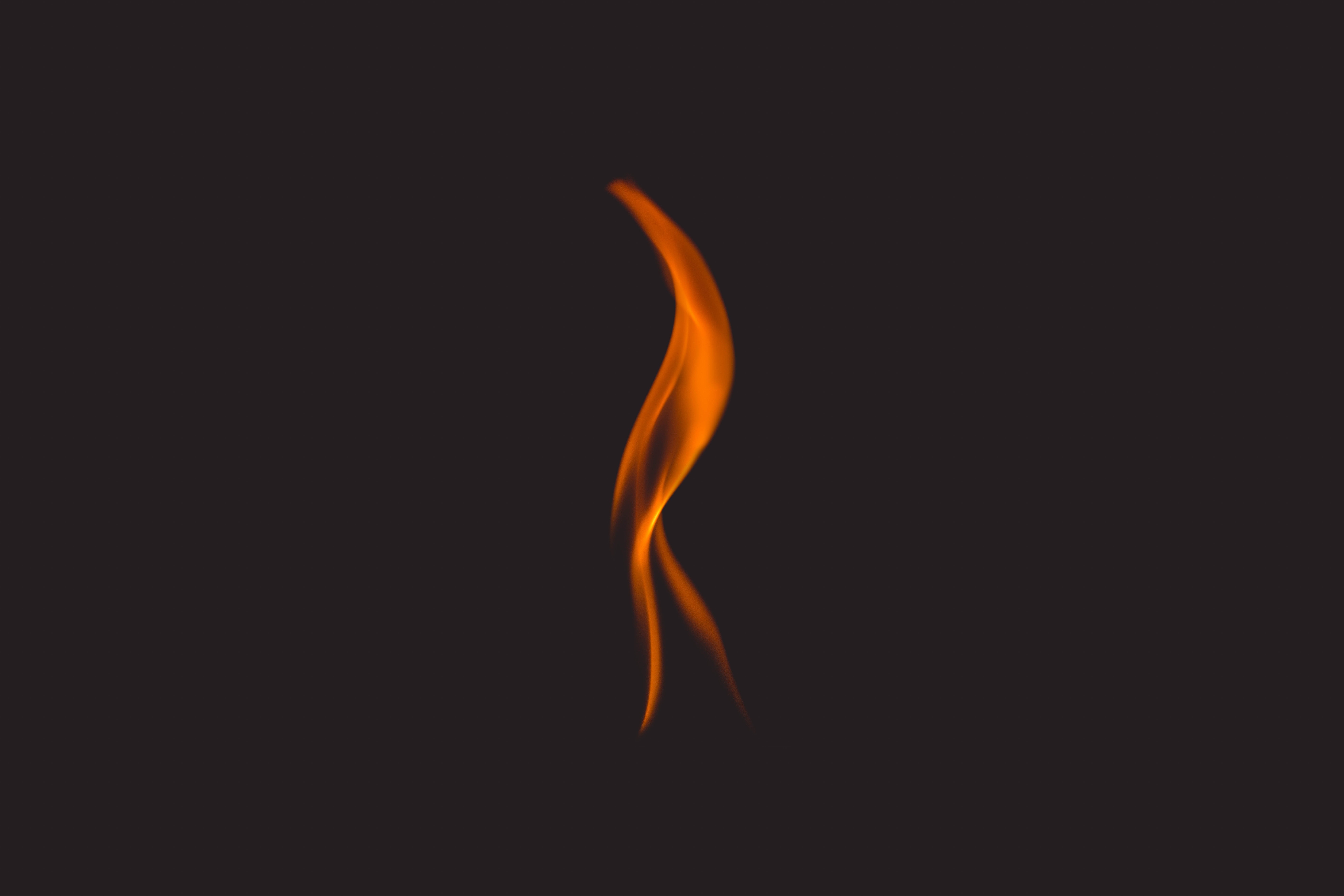 Small flame on black background